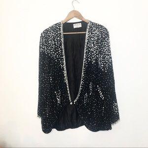 Vintage Silk Pearl Sequin Embellished Jacket Black